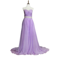 Real Photo Incredible A-Line Sweetheart with Long Train Chiffon Long Lavender Prom Dress with Removable Crystal Belt Custom Made