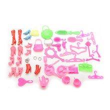 50 Items / Set Doll Accessories Hangers Bags Shoe Earring Glasses For Barbie Dolls Dress up Best Gift Packs Child Toys