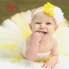 Fashion infant baby girl tutu dress yellow and white pearl baby headband set  first birthday outfit