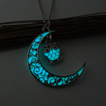 2017 owl pendant necklace for women night lights noctilucence fashion jewelry for women blue color necklace drop shipping
