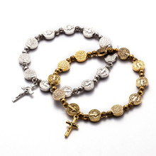 Jesus Cross Bracelet Vintage Golden&Silver Jesus Jewelry Rosary Centerpiece Sacred Mercy Saint Icons Religious Beaded Bracelet(China)