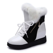 Zip Shoes Women Boots Solid Slip-On Soft Cute Women Snow Boots Round Toe Flat with Winter Fur Ankle Boots EU size 35-40