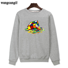 Melted Magic Cube Black/Gray Color Mens Hoodies and Sweatshirts Plus Size XXS-3xl Autumn Winter Warm Outwear Coat Fashion Style(China)