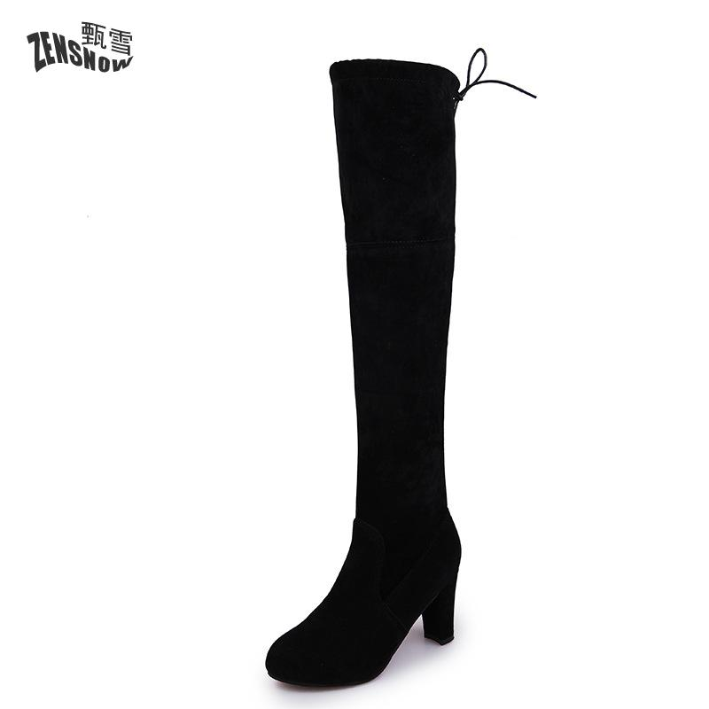 2017 New Women Boots Sexy Fashion Over the Knee Boots Sexy Thin Square Heel Boot Platform Woman Shoes Black size 34-43<br>