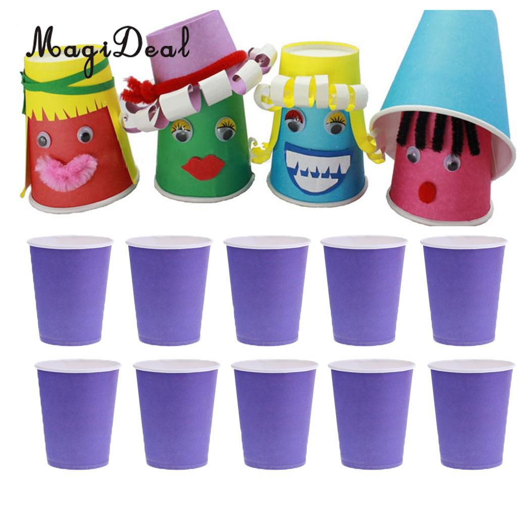 MagiDeal 10 Pcs/Lot Purple DIY Paper Cups Mugs Craft Birthday Party Tableware Catering Baby Shower Kids Hand Printing Crafts(China)
