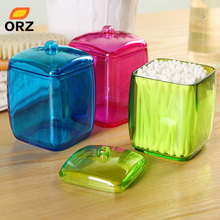ORZ New Design Colorful Cotton Swab Box Q-tip Storage Holder Cosmetic Makeup tool Women Storage Box Jewelry Box(China)