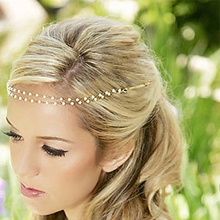 KINS Women Imitation Pearl Tiara Boho Chic Bridal Head Chain Accessories Hair Jewelry Hairpin Hairband For Wedding Photo Party