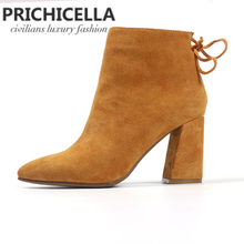 Prichicella brown Women pointed toe 8cm block heel ankle boots genuine leather back lace up suede boots