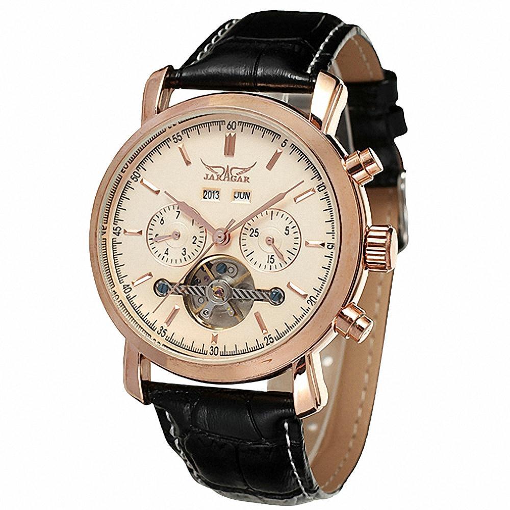 JARAGAR Men Retro Automatic Mechanical Wrist Watch Genuine Leather Band Tourbillion 3 Sub Dial Rose Golden Watch + BOX<br><br>Aliexpress