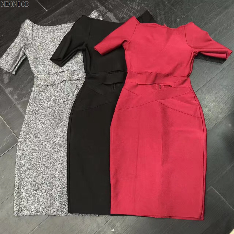 2017 new bandage dress stretch tight nightclub ladies birthday party dinner fashion sexy hips a word collar hollow jacquard red(China)
