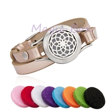 Different Color leather wrap bracelet Stainless Steel Essential Oil Diffuser Locket (25mm) Aromatherapy with 8 pads