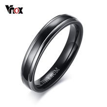Vnox 4mm Thin Men Ring Black High Quality Titanium Casual Male Alliance Jewelry US Size 9 10 11 12(China)