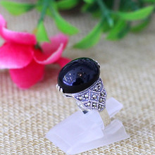 S925 silver jewelry classic fashion ladies six claw Black Onyx Ring