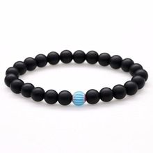Natural Stone Black Matte Onyx Bead Stretch Bracelet Glass Charm Bracelets For Women Men Bracelet & Bangles Fashion Jewelry Gift