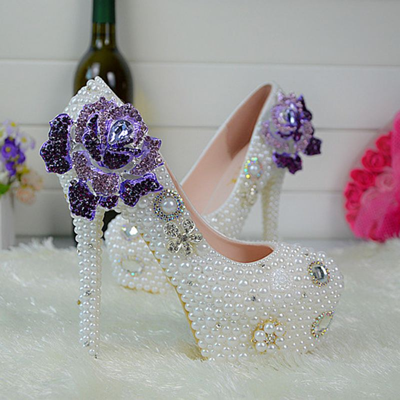 Customize  Rhinestone  Purple  Enchantress  Pearls  Wedding Shoes High Heels Slip On Bridal Shoes  Platform Shoes  No70<br><br>Aliexpress