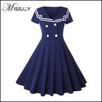 MISSJOY-Vintge-Clothing-Preppy-Style-Women-2018-Summer-Sailor-Collar-Short-Sleeve-A-Line-Knee-Length