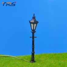 Teraysun 4cm plastic scale model ABS plastic courtyard lampost light for model train layout street lamp.model light