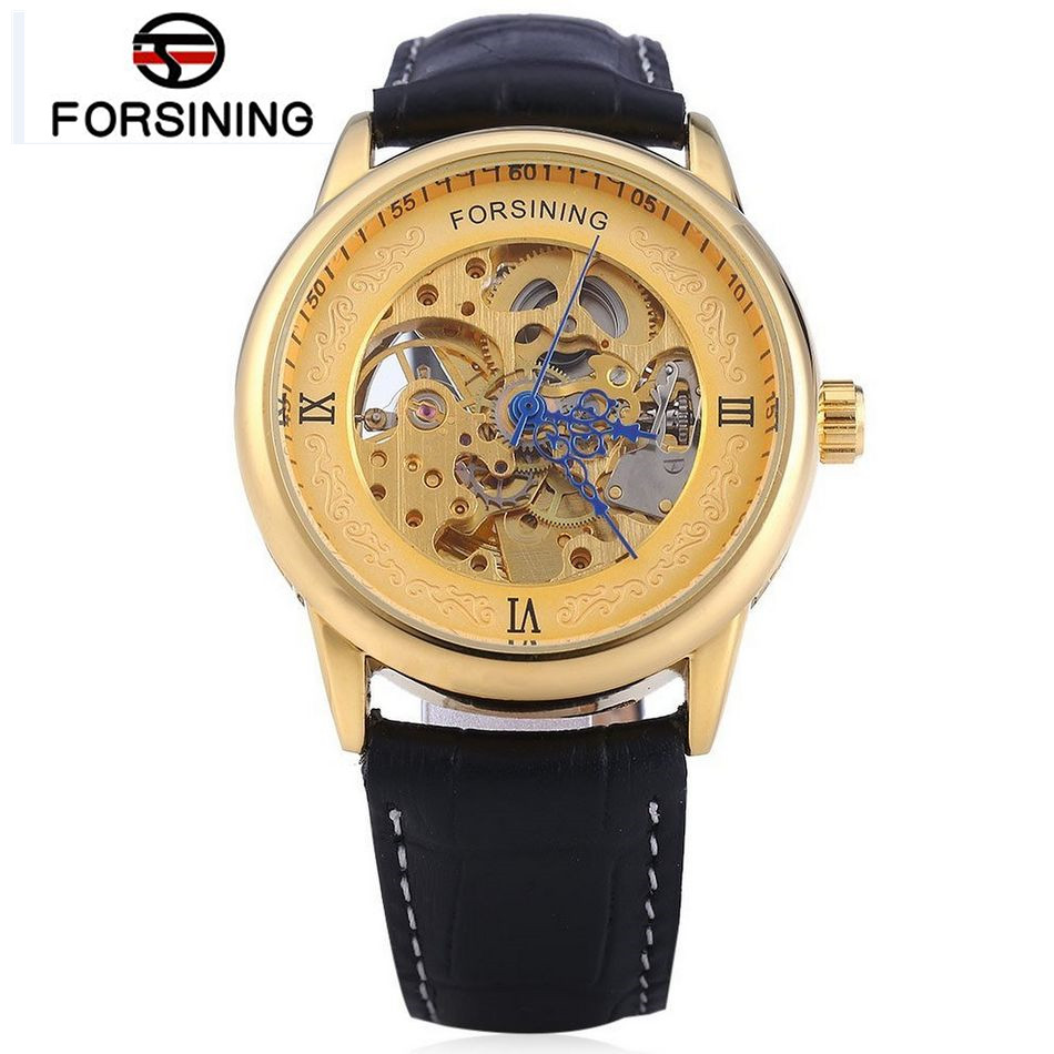 FORSINING Erkek Kol Saati Mens Gold Dial Skeleton Auto Mechanical PU Leather Wristwatch Free Ship<br><br>Aliexpress