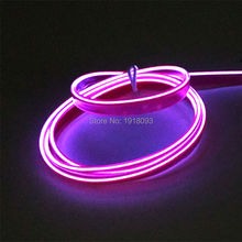 1Meter Flexible LED tube LED Strip EL Wire Tube Rope Flexible Neon Light 2.3mm-skirt Purple Car Inside Decoration(China)