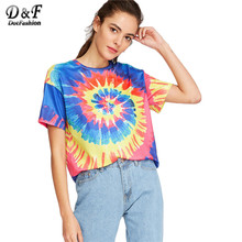 Dotfashion Tie Dye Print Casual T-shirt Women Multicolor Short Sleeve Novelty Summer Tops 2017 New O Neck Brief T-shirt C3403