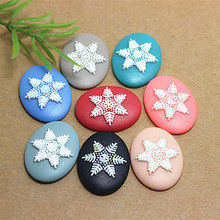 free shipping! wholesale 100pcs/lot 19*25mm Snowflake resin cameo flat back cabochon for Holiday decoration
