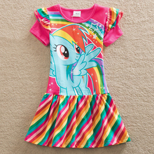 Summer girl Dress Fashionable baby clothes Casual  Cotton dress Printing rainbow 3-8 years old Kids Children's clothing SH6010