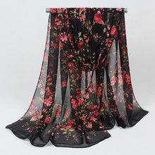 new 2017 fashion Style print long scarf women silk chiffon shawl thin shawls printing polyester scarves Winter wholesale FZ053(China)