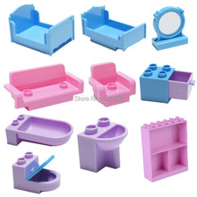 Girls Bedroom Building Blocks Parts DIY Toys Bed Sofa Mirror Phone Meat Corn Cemera Accessories Compatible with Duploes(China)