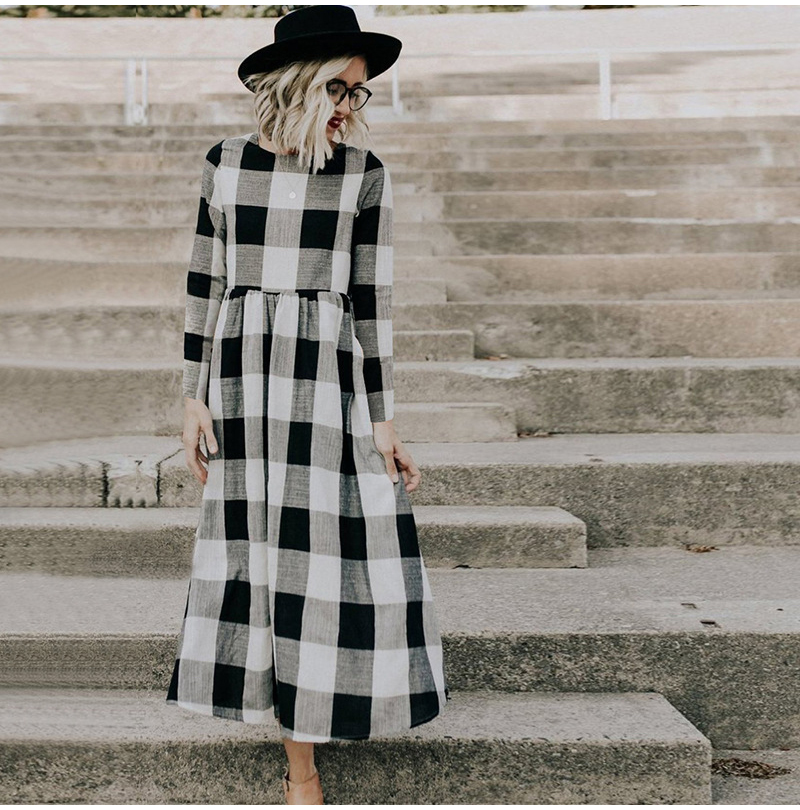 LOSSKY Fashion O-neck Long Sleeve Black White Plaid Maxi Dress Women 2018 Autumn Winter Vintage Casual Linen Long Ladies Dresses 4