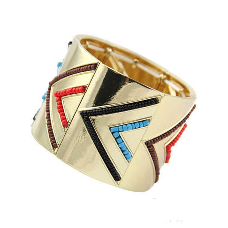 Free Shipping New Arrival Women Gold-Color Multicolor Beads Hinge Cuff Bracelets Jewelry(China (Mainland))