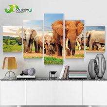 5 Piece Wall Art Canvas Africa Elephant Oil Painting Modern Art Painting Cuadros Decoracion Canvas Print Unframed PR1168