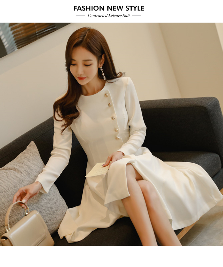 Elegant Dress Women Casual Long Sleeve Dress Office Lady Runway Designers High Fashion Dress 11