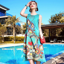 A11ZT492 Europe and  United States Summer Women Printed Dress 100% SILK Sleeveless Dress