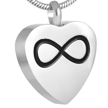 IJD8721 Customized Engraved Infinity On My Heart Stainless Steel Cremation Urn Pendant Necklace Hold Ash Keepsake Jewelry Women