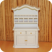New Arrival 1:12 Mini Doll House White Cupboard Cabinet Kitchen Dinning Room Wood Dollhouse Miniature Furniture Accessories