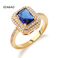 XIAGAO  Gold-color Cubic Zirconia 2.5 Carat Cushion Square Cut CZ Halo Ring For Women Engagement Wedding Fashion Jewelry