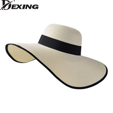 [Dexing] korean style wide brime white sun visor hat female Anti-UV sun summer hats for women beach vacation straw hat chapeau