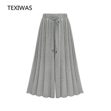 TEXIWAS 2017 spring and summer new high waist fat mm slim wide leg pants leisure fashion M-6XL plus size lady loose long pants(China)