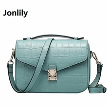 Jonlily Women small Flap handbags Women genuine Leather Commuter Office tote bag Women's Pouch Bolsas Famous Ladys bag-SLI-155
