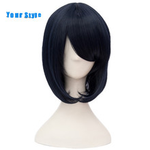 Your Style Short Synthetic Women BOB Hair Cosplay Wigs Party Dark Blue Natural Hair Wigs Heat Resistant Fiber(China)