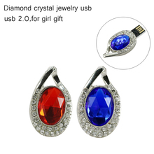 2016 New Fashion diamond Real Capacity Jewelry Crystal Necklace accessories 8GB 16GB 32GB Pen Drive Pendrive USB Flash Drive(China)