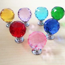 New 30mm Colorful K9 Crystal Cabinet Knobs Chest Handels Furniture Drawer Wardrobe Pulls Cupboard Shoes Box Knobs(China)
