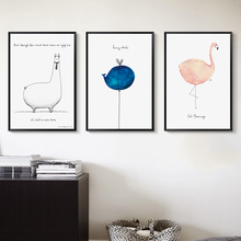 Popigist Nordic Simple And Lovely Watercolor Abstract Sheep Ostrich Animal A4 Canvas Painting Art Print Picture Room Decoration