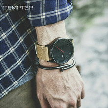 Large Dial calendar Mens Watches Brand Luxury Men's Quartz Watch Sport Military Watches Leather Relogio Masculino TEMPTER 2017