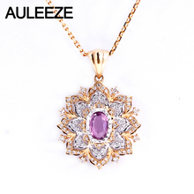 AULEEZE Vintage Natural Pink Sapphire Wedding Pendant Real Diamond 18K Yellow White Gold Gemstone Necklace For Women Jewelry