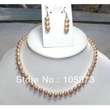 Wholesale Pearl Jewellery Set Cultured Freshwater Pearl 18'' Necklace 925 Silver Earrings Pink Potato 6-7mm Beads Free Shipping