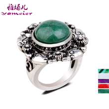 Retro Fashion Silver Round Petals Inlaid Artificial Gemstones Malachite Women Rings Wedding Flowers Ring