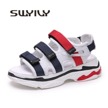 Buy SWYIVY Women Walking Shoes Platform 5cm Breathable 2018 Female Roman Sandals Comfortable ColorBlock Hook&Loop Summer Woman Shoes for $27.71 in AliExpress store
