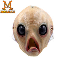 2018 New style Bigeye fish monster mask Terrorist headgear Halloween party bar dance Scary props Latex Material Full face(China)