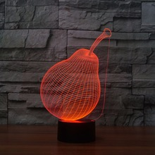 Christmas Creative Fruit Desig Night Light lamp Colorful Gradient Atmosphere Lamp Drop Ship Pear 3D LED Acrylic Night Light